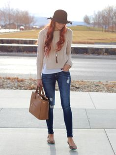 casual sweater style with leopard flats