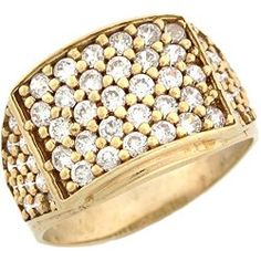 Mens Rings - 10k Yellow Gold Mens CZ Rectangle Five Row Cluster Ring / Mens Jewelry Site: Project Fellowship