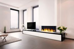 Faber: Gashaarden > Built-in > Triple Premium XXL Wall Units With Fireplace, Modern Fireplace, Fireplace Design, Home Office Design, Interior Design Living Room, New Living Room, Living Spaces, Fireplace Remodel, Home Decor Inspiration