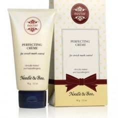 Noodle & Boo® Perfecting Crème:  Skin that stretches rapidly often tears the connective tissue located in our dermis layer of the skin. As a result, these little tears show discolorations and streaks on the skin known as stretch marks. Tears in the skin are often from rapid weight gain when we experience pregnancy, puberty or weight fluctuations. These streaks can affect both men and women in our teen years and through adulthood.