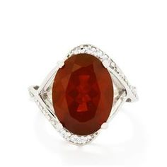 Strawberry AA American Fire Opal & White Topaz Sterling Silver Ring ATGW 6.85cts