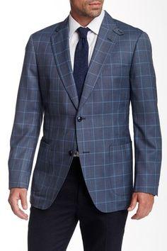 Kroon Grey Windowpane Two Button Notch Lapel Sport Coat