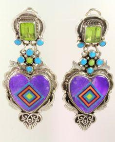 Sugilite Heart Earrings