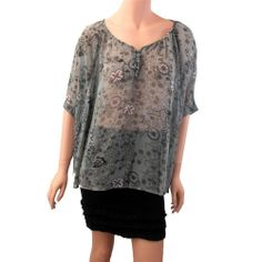 Angie Clothing Women's Blue Georgette Semi Sheer Shirt BlouseTop Dolman Sleeves