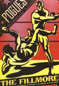Original concert poster for the Pogues at The Fillmore in San Francisco. Art by Todd Slater. Tour Posters, Band Posters, Music Posters, Pop Rock, Rock N Roll, Irish Restaurants, Fillmore West, The Pogues, Music Flyer