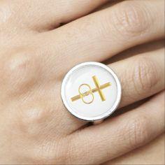 Golden 3-D Cross with Wedding Rings #Ring....#crosses #Christian #Catholic #WeddingRings #forsale #Zazzle #Artists4God #religious #religion #golden #RoseSantuciSofranko