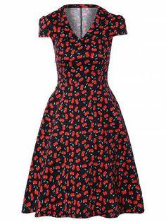 Prezzi e Sconti: #Vintage v-neck cherry print fit and flare  ad Euro 25.54 in #Women dresses vintage dresses #Moda