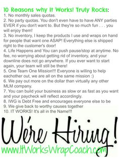 10 reasons why IT Works rocks! www.kristenswrapcentral.Itworks.com ,or email me kristenavon4 @yahoo.com