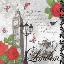 4 X las servilletas de papel-Té En Londres-Ideal Para Decoupage / decopatch