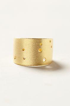 Brass Zodiac Cuff Ring - Leo
