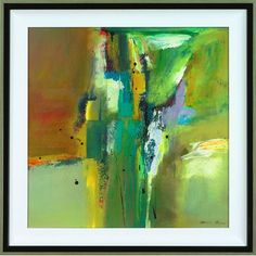 "New Century Picture Abstract in Green II by Barnes, Natasha Wall Art - 34"" x 34"""