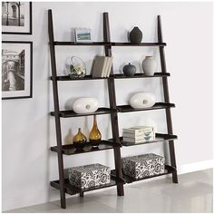 Walnut Five-tier 2-piece Leaning Ladder Shelf Set ($182) ❤ liked on Polyvore featuring home, furniture, storage & shelves, bookcases, 5 tier shelving, 5 tier shelves, storage shelving, storage bookcase and 5 shelf book case