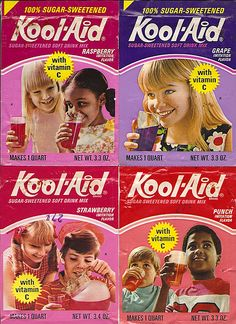 KoolAid packets  ... I rememer these ... my Mom used to make them into ice cubes for the hot afternoons!