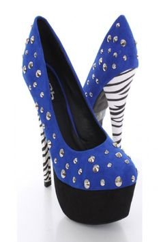 Blue Faux Suede Studded Animal Print Heels
