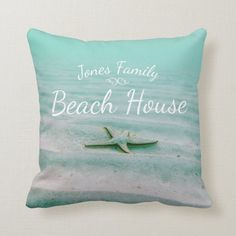 Starfish In Sand Nautical Aqua Family Beach House Throw Pillow - tap/click to get yours right now! #ThrowPillow  #starfish #sea #star #aqua #ocean Custom Pillows, Decorative Throw Pillows, Sailing Gifts, Jones Family, Nautical Home, Dog Design, Starfish, Beach House, Aqua