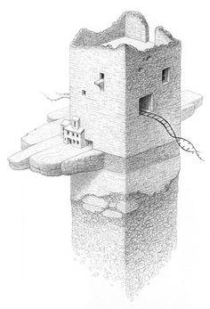Mathew Borrett - Tower. Pencil drawing (2004-2005)
