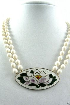 Vintage Two Strand White Beads Enamel Cloisonne Water Lily Necklace Special Party Items, White Beads, Pearl Necklace, Enamel, Lily, Pearls, Water, Vintage, Jewelry