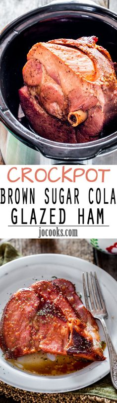 Crockpot Brown Sugar Cola Glazed Ham - 5 minutes of prep time is all you need to make this incredible brown sugar and cola glaze then pour it over the ham, set it and forget it for a few hours. When i (Crockpot Recipes Ribs) Crock Pot Food, Crockpot Dishes, Crock Pot Slow Cooker, Pork Dishes, Slow Cooker Recipes, Cooking Recipes, Crock Pots, Crockpot Meat, Cooking A Ham