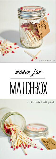 Mason Jar Craft Ideas - Mason Jar Matchbox - Dad's Day Gift Ideas - @it all started with paint