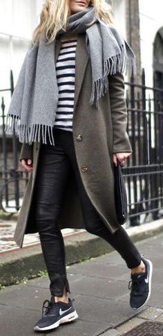 #winter #fashion / olive coat + stripes