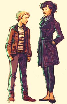 Femme Sherlock and Watson by andells (tumblr)
