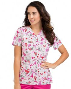 f7226189336 Hope for a cure with the Peaches Uniforms Women's Anna Breast Cancer  Awareness Print Scrub Top. Pink ribbons look pretty and support an  important cause.
