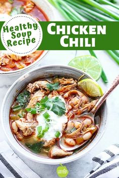 This healthy chicken chili soup recipe has southwest flavors. Made in 30 minutes this easy soup recipe uses boneless chicken thighs for fantastic flavor. A kid-favorite soup. Chicken Soup Recipes, Easy Soup Recipes, Quick Dinner Recipes, Chili Recipes, Healthy Recipes, Healthy Kids, Healthy Living, Southwest Chicken Chili Recipe, Chili Soup Recipe