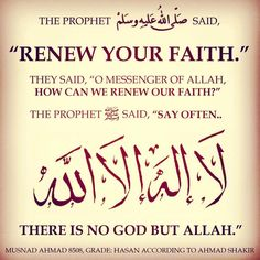 Renew your Islam with constant declaration of Tawheed (Oneness of Allah). Muslim Quotes, Religious Quotes, Islamic Quotes, Islam Muslim, Islam Quran, Doa Islam, True Quotes, Best Quotes, Allah