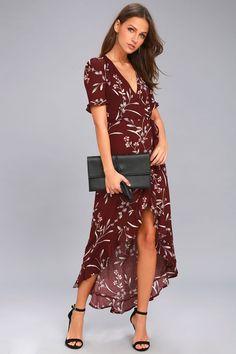 17ff822a0ff Wild Winds Burgundy Floral Print High-Low Wrap Dress. TrapilloVestidosMaxi  Vestido ...