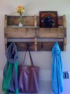 Pallet shelf with coat hooks!!!