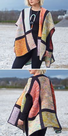 Free Knitting Pattern for Squared Shawl - Simple modular poncho-style wrap knit . Free Knitting Pattern for Squared Shawl - Simple modular poncho knit with 2 strands of different colors held together for a marbling effect. Poncho Knitting Patterns, Knitted Poncho, Knitted Shawls, Knitted Blankets, Knitting Yarn, Knit Patterns, Free Knitting, Simple Knitting Patterns, Poncho Shawl