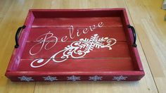Items similar to Decorative, rustic, usable Christmas tray for your holiday table. on Etsy Christmas Bazaar Crafts, Christmas Craft Fair, Pallet Christmas, Primitive Christmas, Christmas Signs, Christmas Projects, Holiday Crafts, Christmas Time, Diy Arts And Crafts