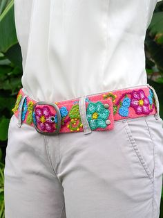 Hand embroidered belt floral colorful pink hand by MeierBelts, Crochet Belt, Crochet Stitches, Crochet Patterns, Mexican Embroidery, Embroidery Applique, Motif Ikat, Silk Bangles, Creative Textiles, Embroidery On Clothes