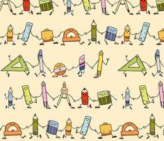 Dancing School supplies fabric by padeshahoo on Spoonflower - custom fabric