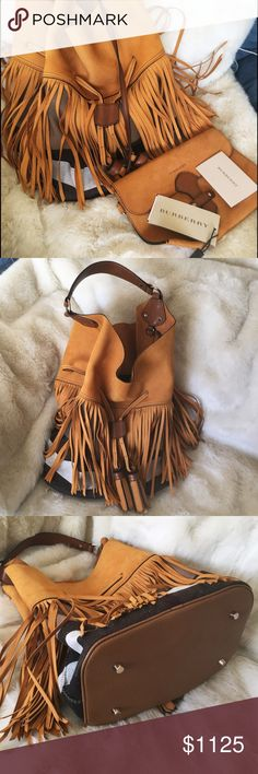BURBERRY LONDON Susanna L Fringed Canvas&Seude Bag • BRAND NEW WITH TAGS UNATTACHED • SOLD OUT •  This slouchy Susanna bucket bag was one of the standout accessories in Burberry's AW15 runway collection.  It's crafted from cotton-canvas in the label's heritage check, covered in swishing suede fringing and finished with a grained leather base.  Use the detachable suede pouch to store your travel card or phone. Burberry Bags Shoulder Bags