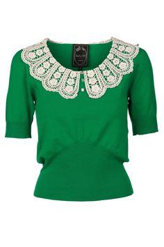 Edith & Ella 1950s Peter Pan Crochet top in green.