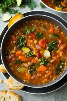 Lentil soup - Changes I made - added 1 round steak for meat(sliced thin, added with lentils, raw. Some skimming needed. - used beef broth instead of vegitable.(2 boxes) - switched zucchini for broccoli