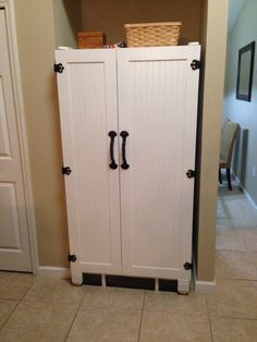 Refrigerator makeover. Turned my ugly old white fridge into a One of a kind cabinet. Love it!!!!