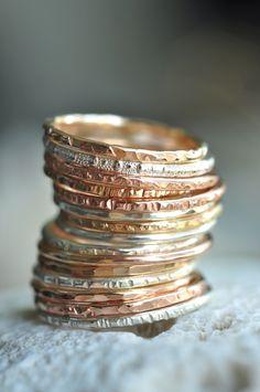 oooooo~~ textured skinny stacking rings~~~