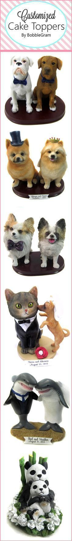 Customized wedding cake toppers from BobbleGram. We specialize in creating the most adorable cake toppers you can imagine. Include your pets! We sculpt dogs, cats, hamsters, sharks, horses, pigs, owls - you name it!