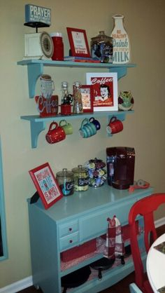 Coffee bar in kitchen, turquoise and red makes me smile!
