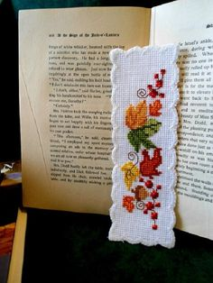 Handcrafted Elegant Fall Leaves Cross Stitch Bookmark