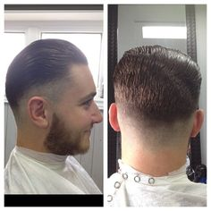 Slick back faded down to a half Barbering