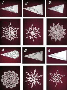 6 most beautiful patterns for cutting out Christmas snowflakes - save and share with friends - samira - Let& Pin This- Cliquez ici pour l'image complète! 6 most beautiful patterns for cutting out Christmas snowflakes – save and share with friends – samira Paper Snowflake Template, Paper Snowflake Patterns, Snowflake Craft, Snowflake Origami, Origami Ornaments, Paper Patterns, Frozen Snowflake, Pattern Paper, Diy Christmas Fireplace