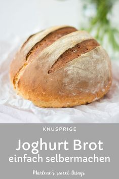 {World Bread Day Joghurt Brot Marlenes sweet things Low Carb Burger, Wrap Sandwiches, How To Make Bread, Mellow Yellow, Diy Food, Bakery, Food And Drink, Sweets, Snacks