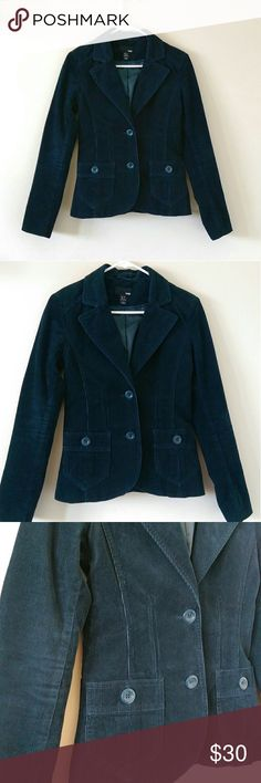 Dark Teal Corduroy Blazer Jacket Perfect jacket for fall, dark teal corduroy like blazer jacket. Front pockets with buttons. Backside had waist cinching detail. Polyester lining inside. Length is 22.5'. Bust measures 17' flat across. Waist is 14.5' flat across with buttons on. Excellent condition. Open to offers. No trades. H&M Jackets & Coats Blazers