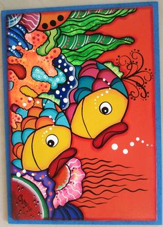 pintura de peces moderna - Buscar con Google Wal Art, Sea Life Art, Japanese Colors, Fish Quilt, Kids Artwork, Colorful Fish, Arte Pop, Fish Art, Applique Quilts