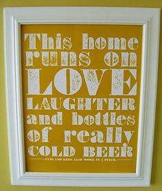 Got this for the kitchen - Cold Beer Poster by howfab on Etsy, $12.00