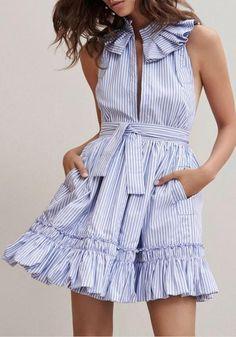 New Women Light Blue Striped Ruffle Sashes Band Collar Halter Neck Backless Mini Dress