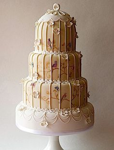 Brides: Vintage Brides Will Love This Trend: Birdcage Wedding Cakes Pretty Cakes, Beautiful Cakes, Amazing Cakes, Birdcage Wedding Cake, Wedding Cakes, Take The Cake, Love Cake, Bird Cage Cake, Royal Cakes